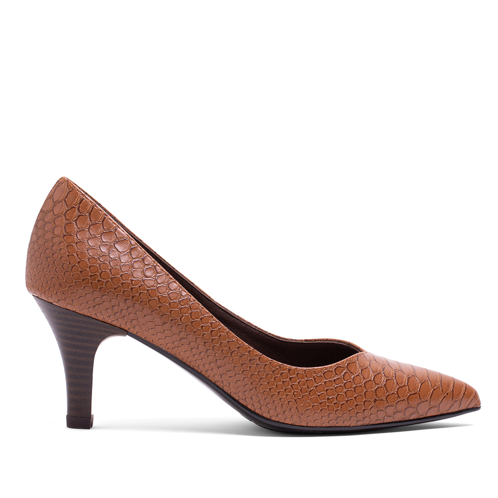 MISWEAR 真皮蛇紋寬版高跟鞋-可可棕