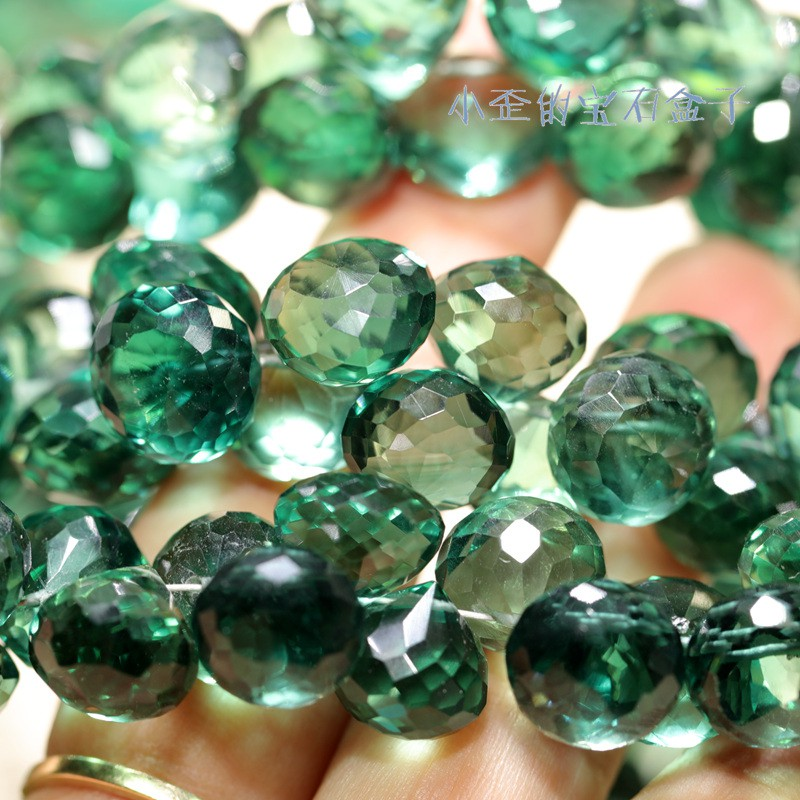 印度進口 高級色復古綠色石英石切面刻面洋蔥頭DIY飾品半成品散珠