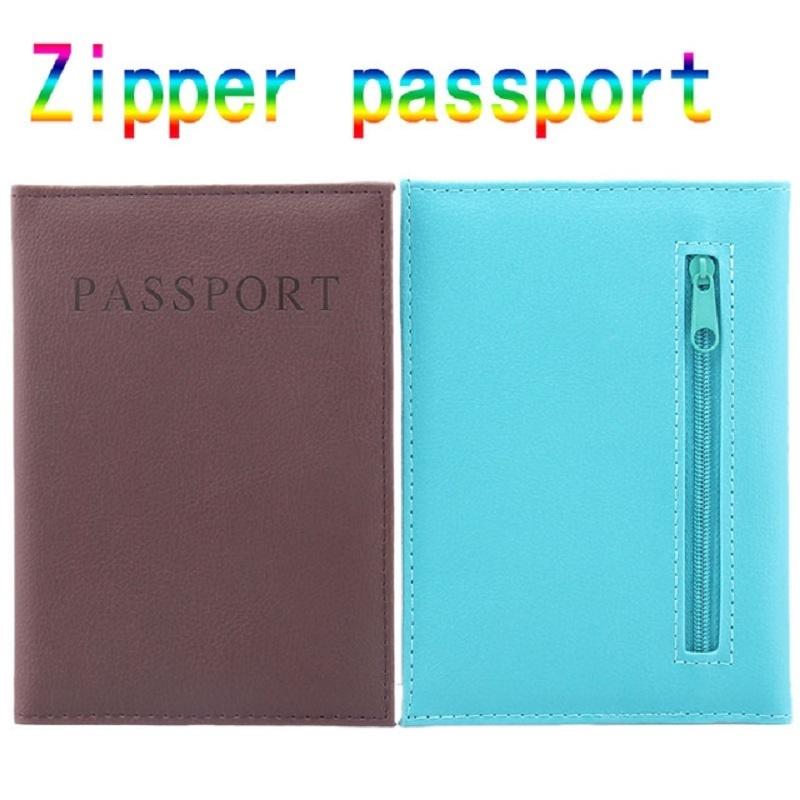 拉鍊護照夾PU皮革旅行護照套護照套護照錢包