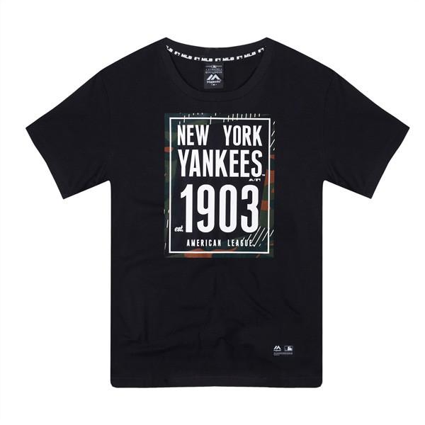 【Majestic】MLB NY 紐約洋基 1903 流行短T T恤 經典黑 休閒【ANGEL NEW ERA】