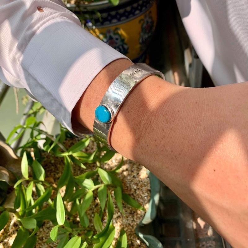 Silver 925純銀素面手環鑲墨西哥Narcozari 飽和天藍色松石Goro's/Horizon Blue/菊地健