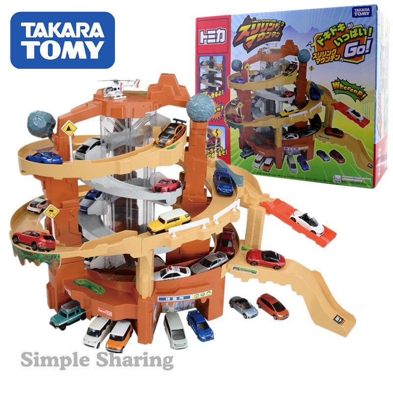 ❤精品❤TOMY多美卡合金汽車TOMICA軌道停車場兒童男玩具禮物套裝驚險山道