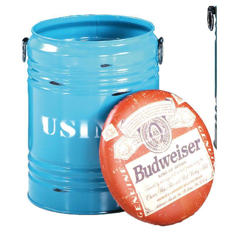 【FA935-9】啤酒藍水桶收納椅凳