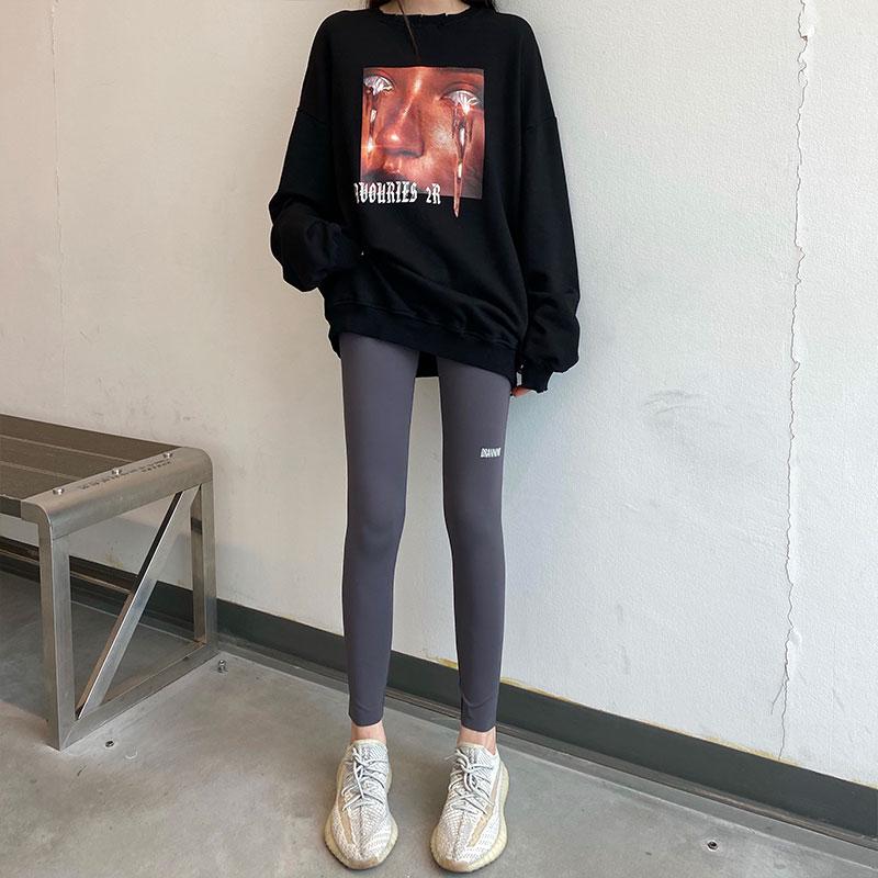 休閑長褲 冬鲨魚皮刷毛外穿內搭褲女高腰彈力瑜伽褲