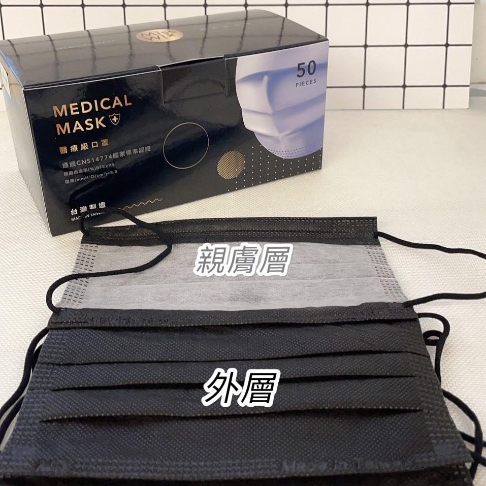 Miss Mix 睿昱醫療口罩 (未滅菌) 台灣製 MD雙鋼印 50片/盒 顏色: 素面黑 (親膚層為灰色)