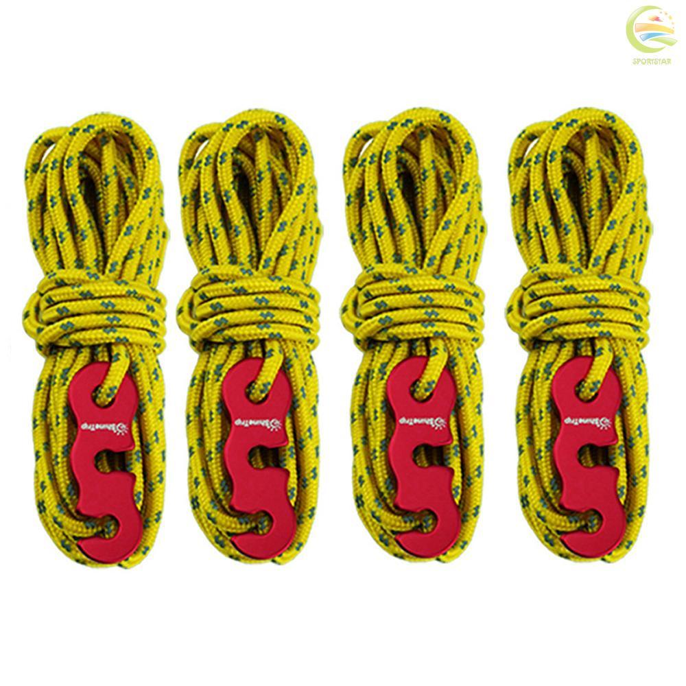 ✾S&T ShineTrip 加粗帳篷風繩天幕戶外野營反光風繩3mm多功能風繩扣四個一組帳篷繩套紅色