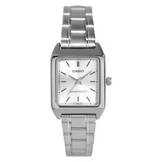 CASIO CASIO (全新) 100% 卡西歐 (卡西歐) 模擬女士皮革或鋼帶 Ltp-V007L 小方形手錶
