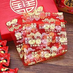 紗袋.燙金紗袋.大紅色新郎新娘燙金雪紗袋12x17cm,1包50入120元