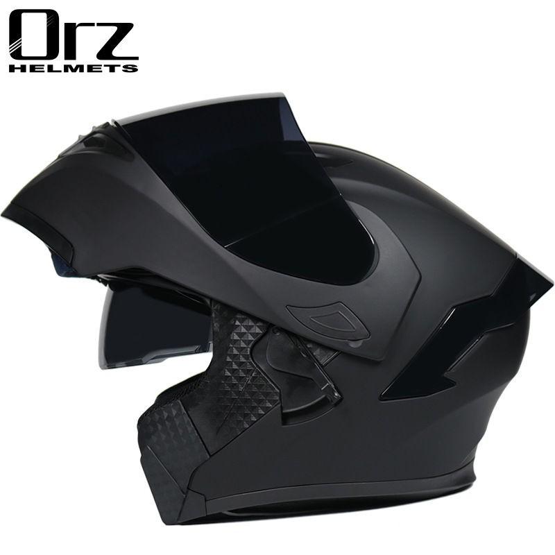 Orz頭盔男女電動摩托車揭面盔全盔尾翼半盔安全帽個性冬季機車灰