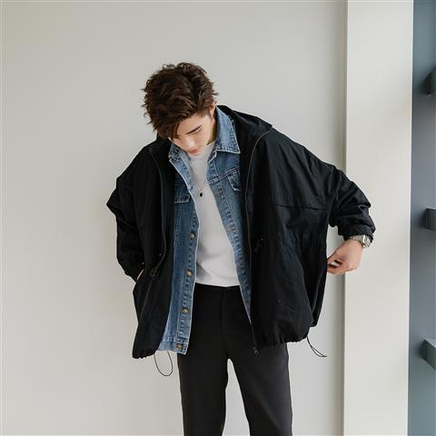 ✨新款2021秋季男士工裝夾克寬松牛仔拼接假兩件外套男韓版潮流學生棒球衣服