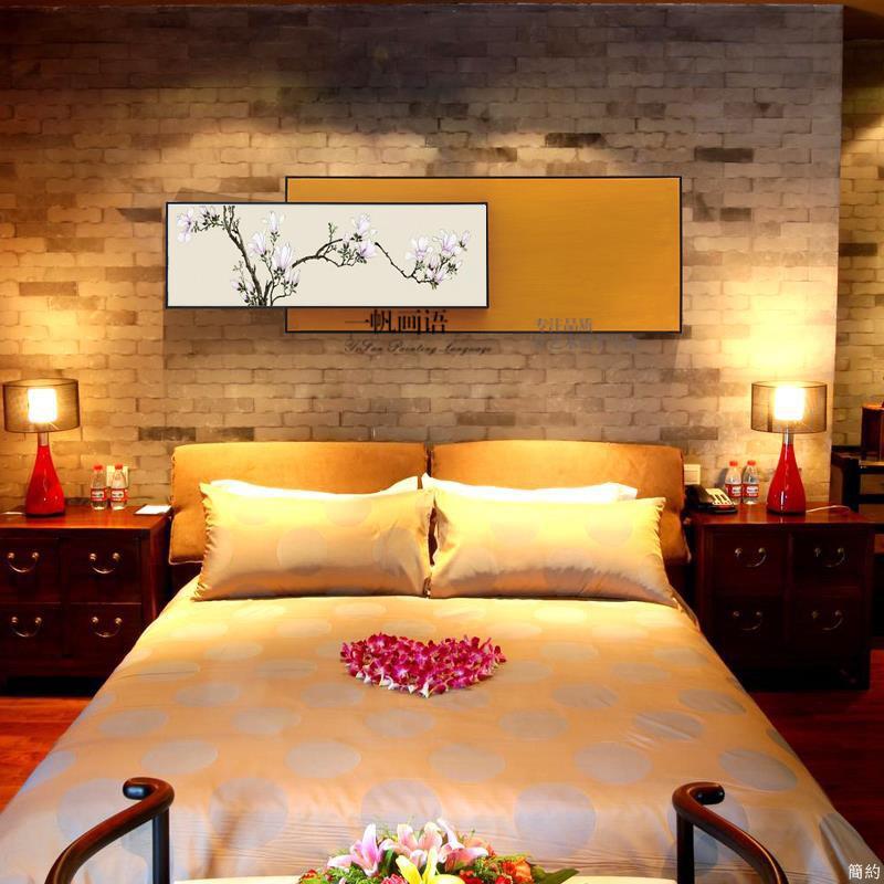 【現貨】免運 現貨 樣板間定制現代中式抽象手繪油畫臥室掛畫壁畫沙發背景客廳裝飾畫
