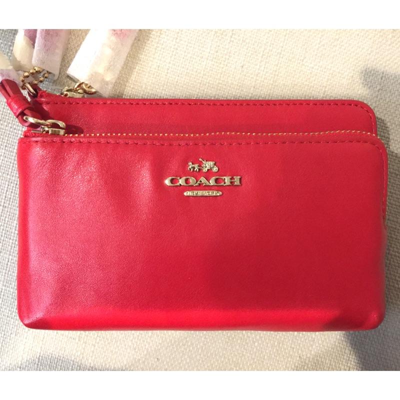 全新 新光三越專櫃 正品 Coach 全拉鍊式 皮革 皮夾 零錢包 手袋 雙層手拿包 51928 超美正紅