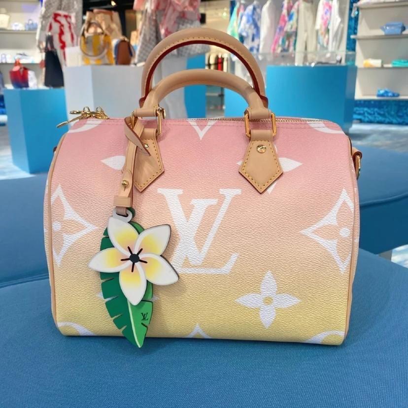 全新正品 LV/ 路易威登 新款 女生 漸變粉色SPEEDY 25手提包單肩斜挎包 現貨