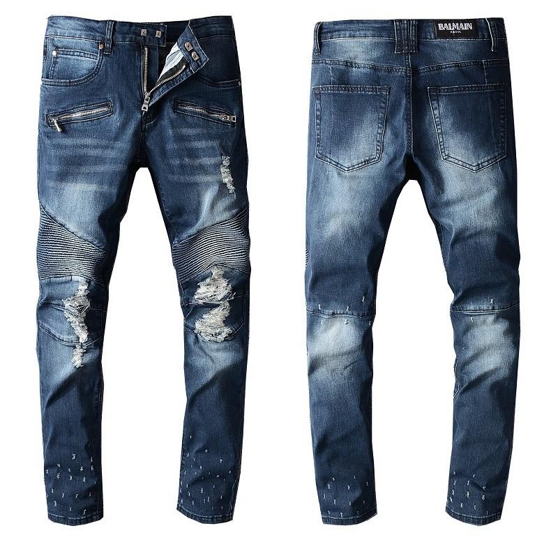 【Discount store】新款巴爾曼牛仔長褲 Balmain彈力修身歐美風破洞時尚男士牛仔褲