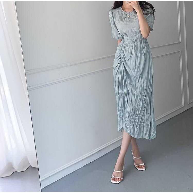 ️✈️正韓預購-優雅摺皺長洋裝