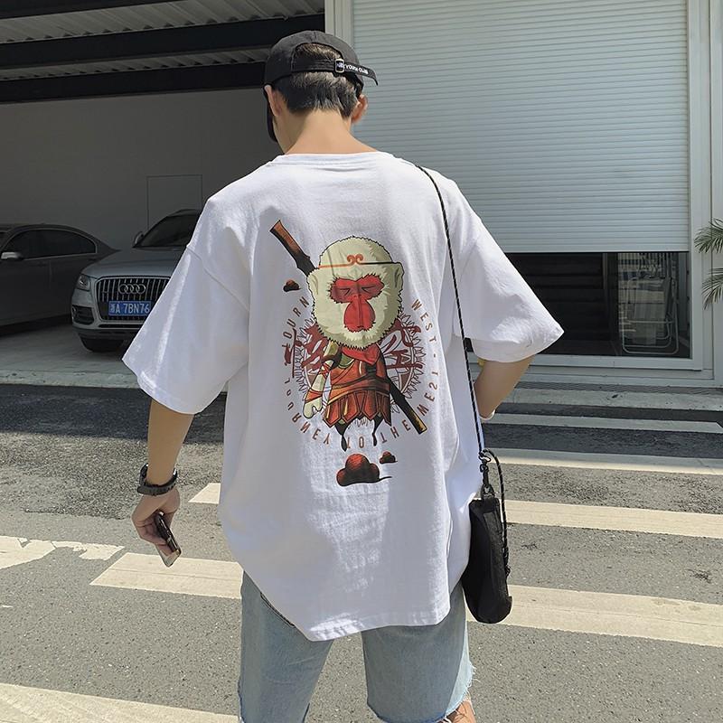 悟空印花短袖T恤 M-2XL 黑色/白色 男短袖 中國風潮牌 國潮 港風韓版BF圓領寬鬆打底衫 百搭簡單T恤 跑步Tee
