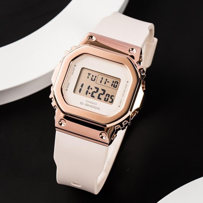 虧本下殺CASIO卡西歐手錶男女學生錶ins風復古金屬錶殼小方塊GM-S5600PG-1透明款 純黑5600電子錶