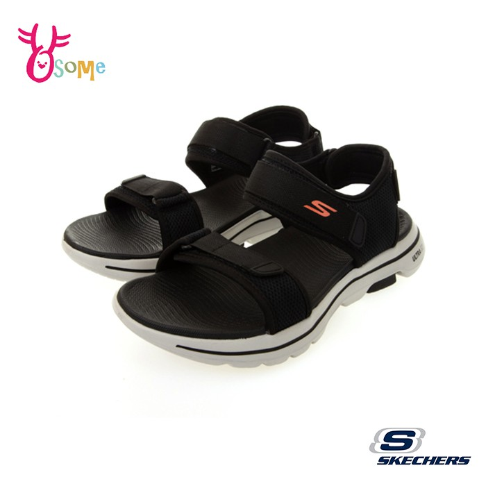 Skechers涼鞋 男涼鞋 運動涼鞋 GO WALK 5 健走涼鞋 一體成型 柔軟Q彈 記憶鞋墊 V8294#黑色