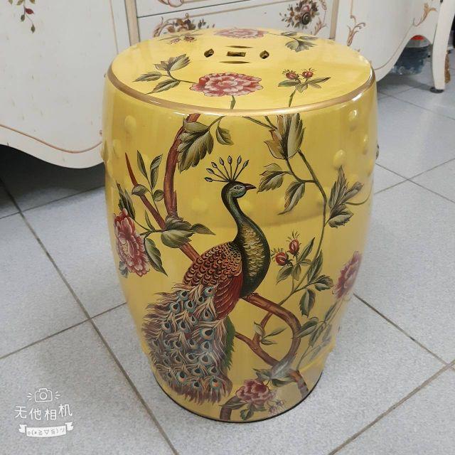 歐式古典手繪孔雀玫瑰陶瓷椅~~~~~~(含運費)