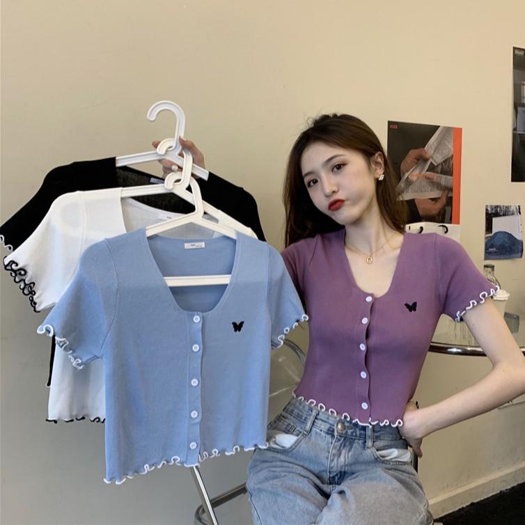 紫色蝴蝶高腰上衣短袖2020夏季新款女修身短款針織外搭開衫薄款