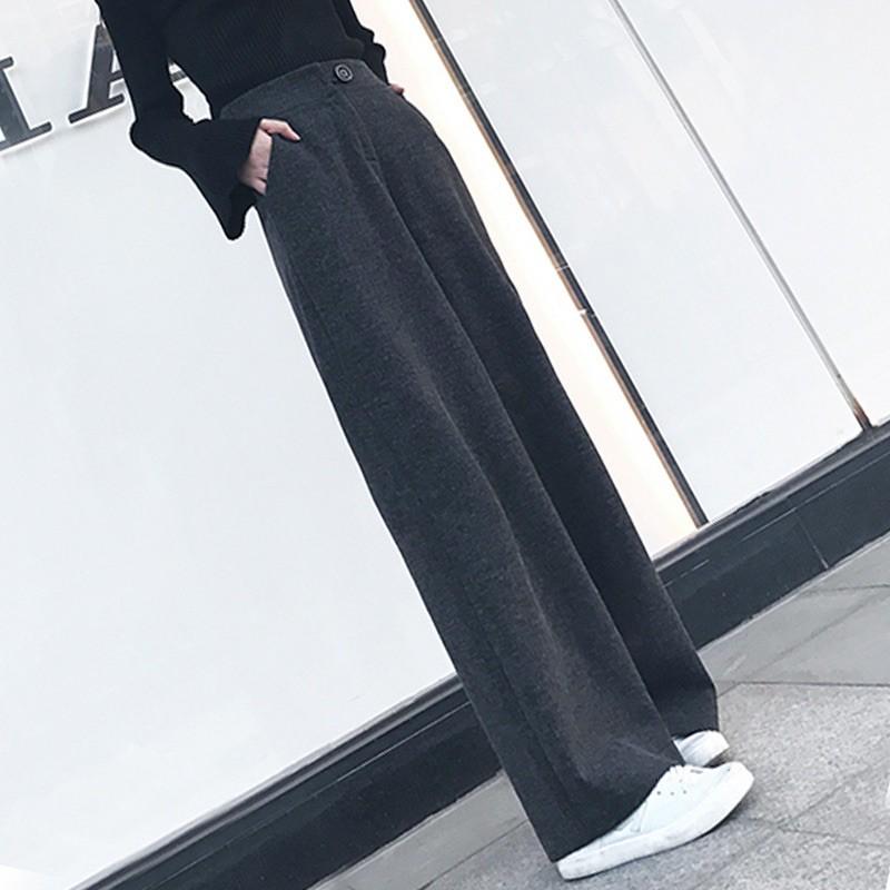 秋冬毛呢落地寬褲西裝挺版🉑️大尺碼顯瘦增高