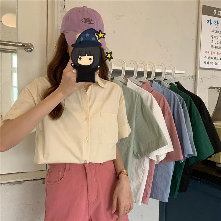 多色 短袖襯衫 時尚 個性 翻領 寬鬆 韓版 新款 開衫 寬鬆 直筒 襯衣 上衣 女生 衣著