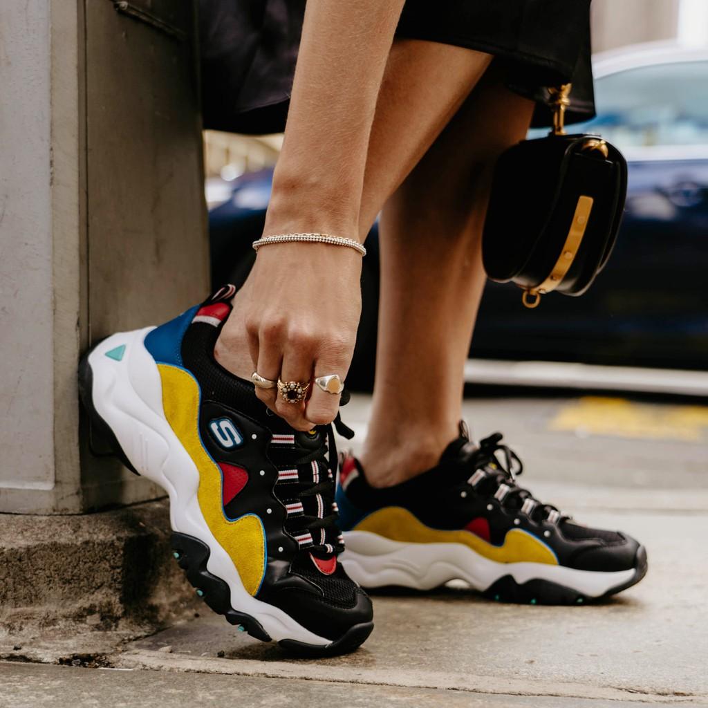 最終出清 沒尺寸可換 特價990 Skechers D'lites 3.0 女 黑黃 老爹鞋 12955/bkyl