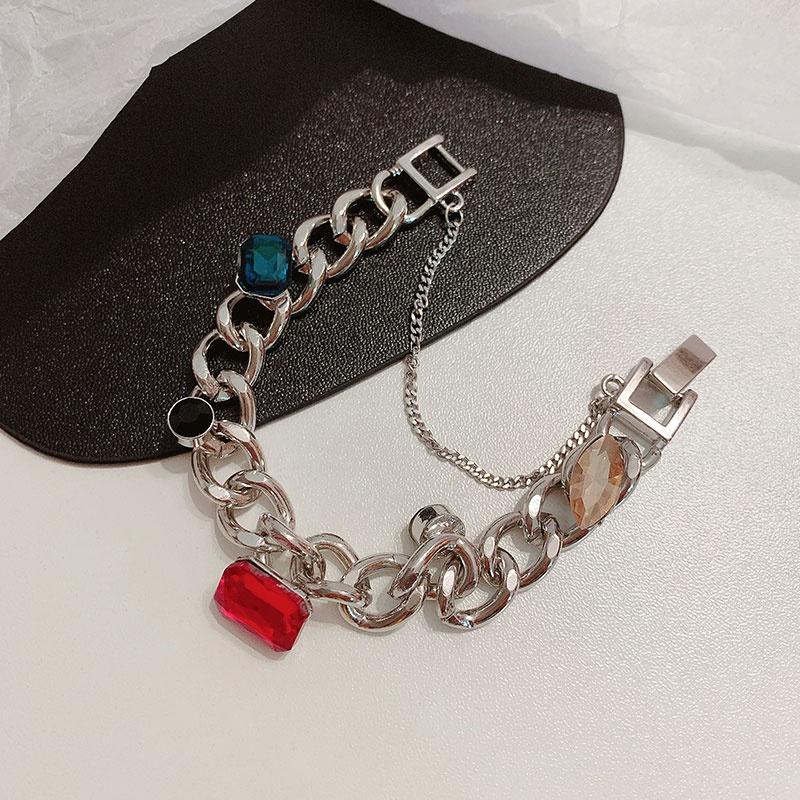紅藍寶石元素鈦鋼手鍊ins超火歐美嘻哈造型粗鏈條時髦感網紅手環不規則水晶寶石鏈條鎖鏈手鍊