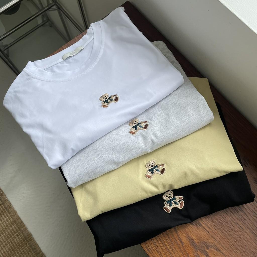 蝴蝶結刺繡熊熊圓領T恤 棉質圓領上衣 刺繡熊熊上衣 熊熊T恤 棉質上衣 短袖上衣 短袖T恤 GRASS現貨[A8602]