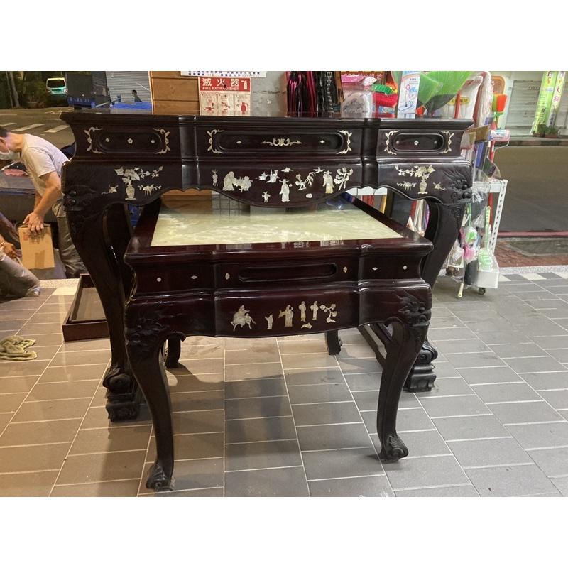 二手-貝殼雕刻樟木神桌/佛桌