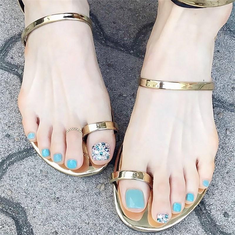 指甲貼片 海藍滿鑽腳趾甲美甲貼片成品24片盒裝 NF143 【買送6配件】