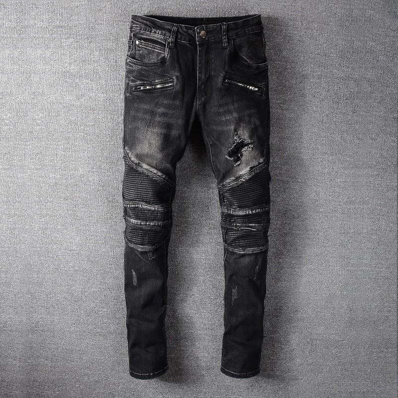 Balmain 巴爾曼黑色膝蓋破壞補丁牛仔褲男青年修身機車褲 1089
