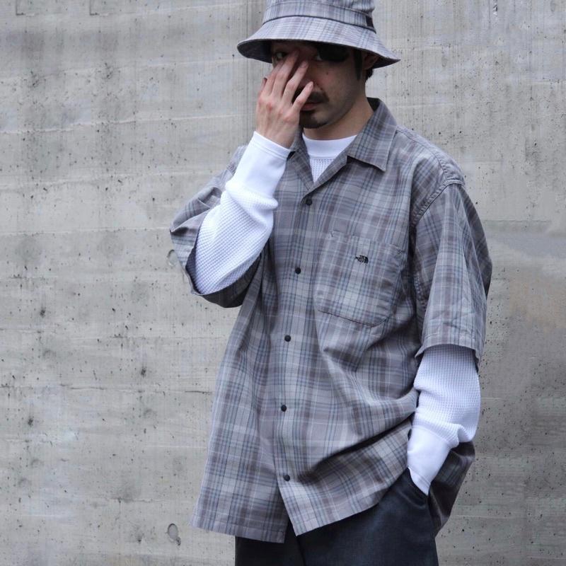 The North Face紫標 日系格紋襯衫 短袖 格子罩衫