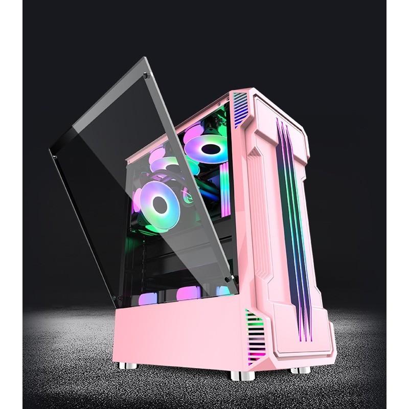 **GP電腦工作室** 粉色風暴來襲! 玻璃側透 電競機殼