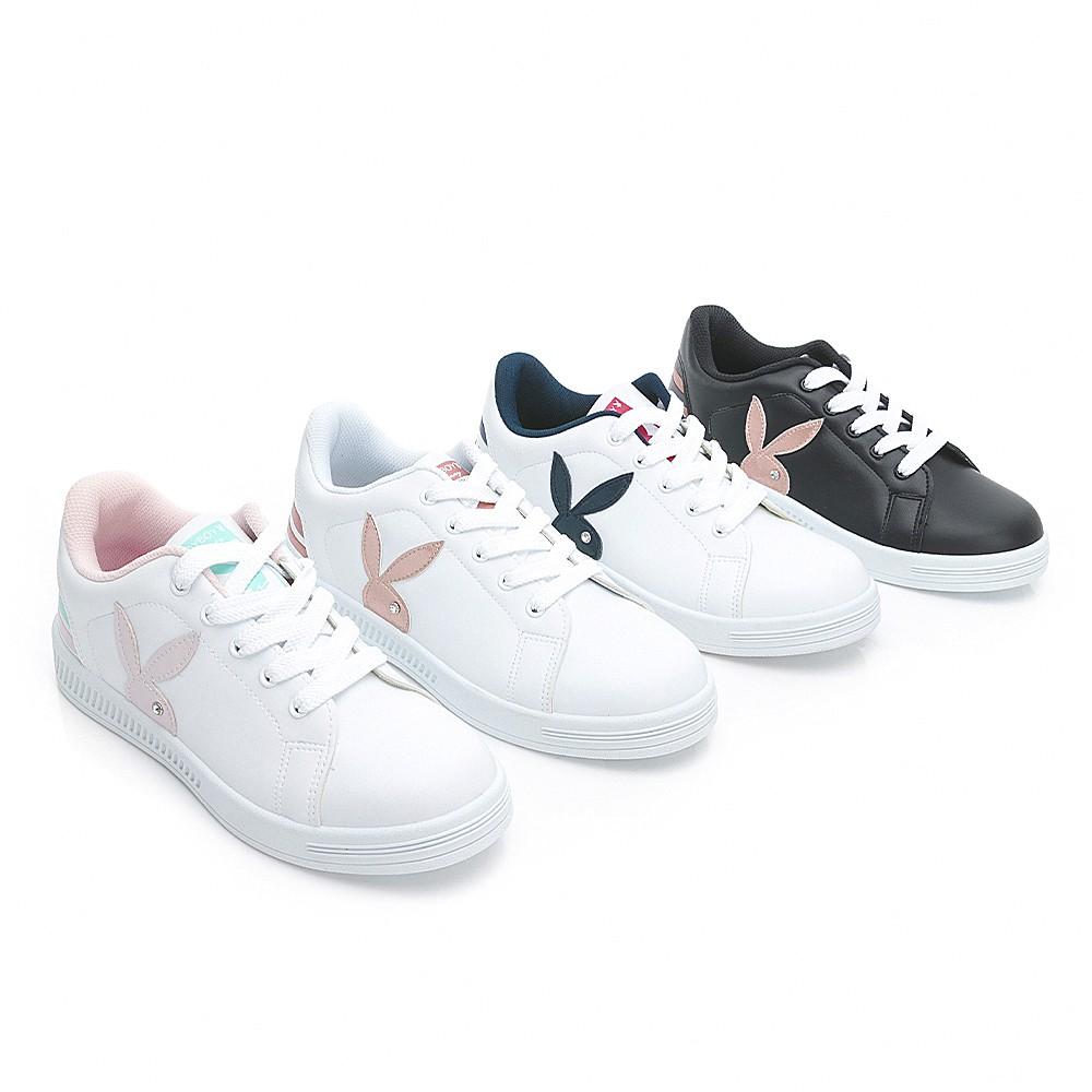 PLAYBOY 條紋魅力兔兔小白鞋-藍紅/黑玫瑰金/白玫瑰金/白粉 (Y7220)