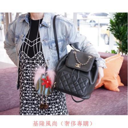 Chanel A93748 Backpack 荔枝紋後背包 黑金鍊讓