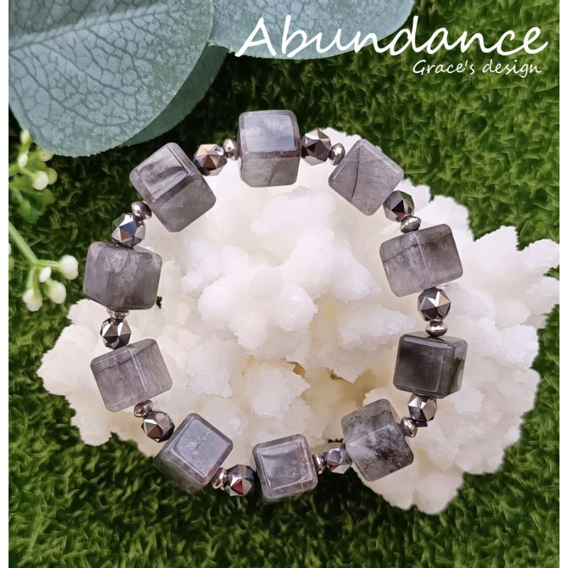 |黑極光水晶•鈦赫茲石|🖤Abundance療癒能量水晶手鍊