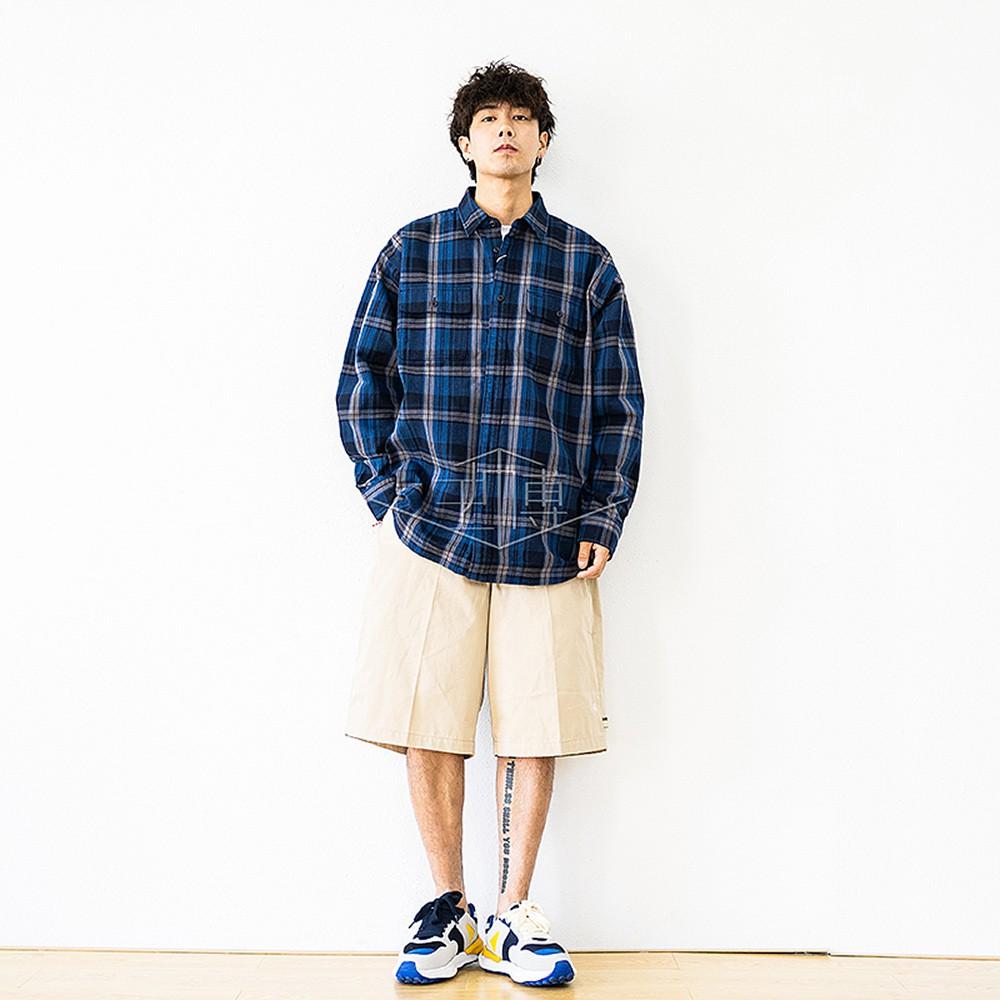 BEAMS JAPAN REGULAR SHIRT條紋格子紅繩長袖襯衫20AW