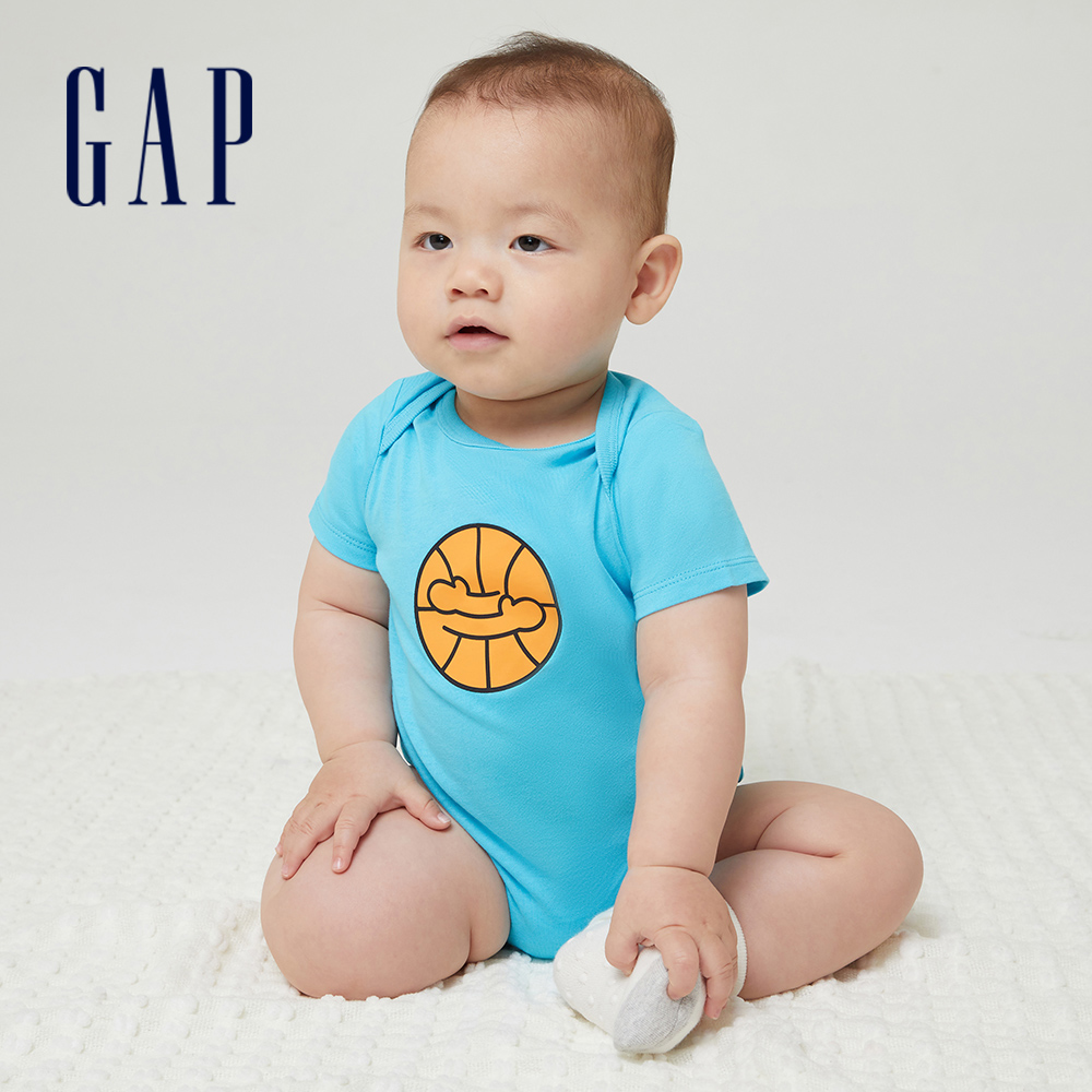 Gap 嬰兒 Gap x Ken Lo 藝術家聯名系列純棉印花包屁衣 868080-天藍色