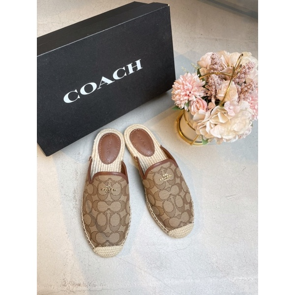 Coach 蔻馳  經典老花紋 包頭拖鞋 懶人拖 編織草鞋