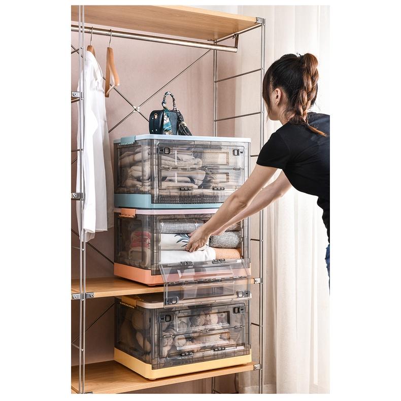 (現貨)24小時內發貨折疊收納箱 下掀式側開貨櫃箱 大號  帶蓋 手提 帶滑輪 塑料 臥室客廳車載儲物盒 透明整理箱