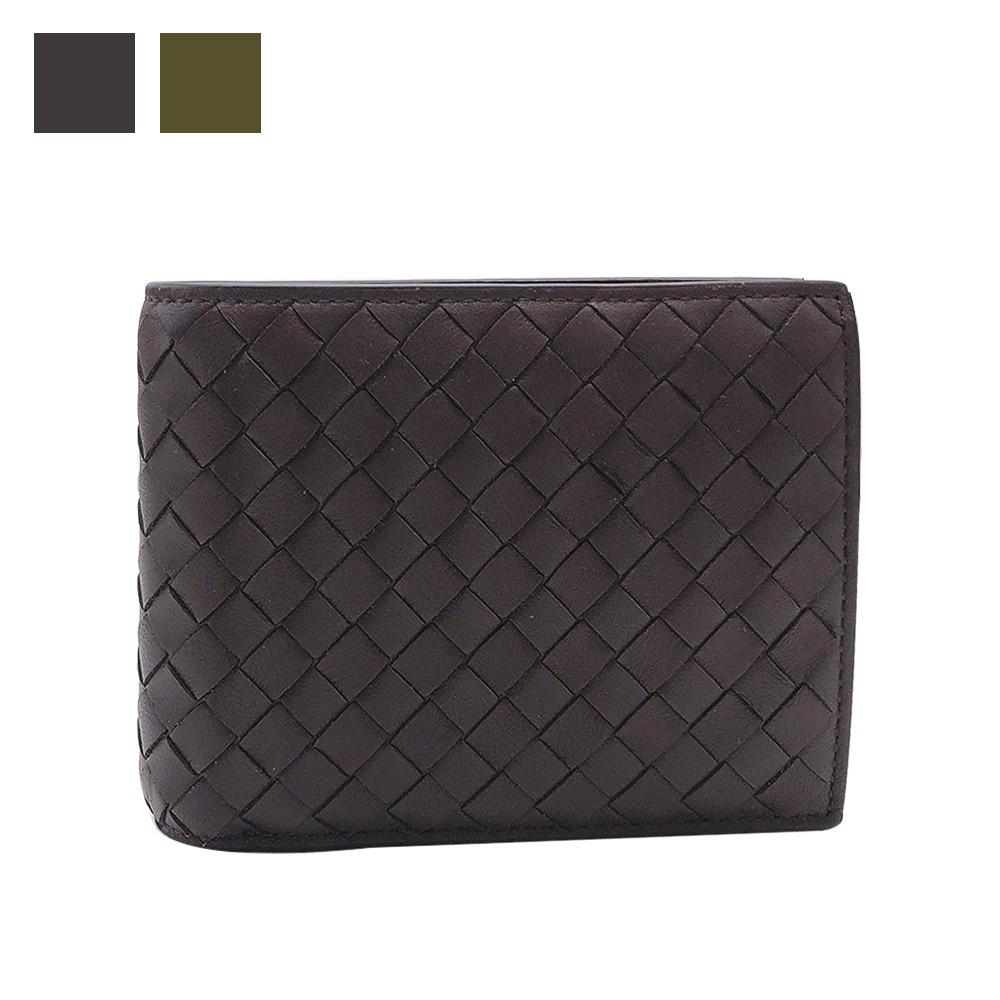 BOTTEGA VENETA 經典編織皮革雙層零錢短夾(522272-二色)