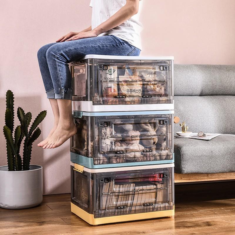 😊熱銷😊折疊收納箱 下掀式側開貨櫃箱 大號  帶蓋 手提 帶滑輪 塑料 臥室客廳車載儲物盒 透明整理箱Mickey�