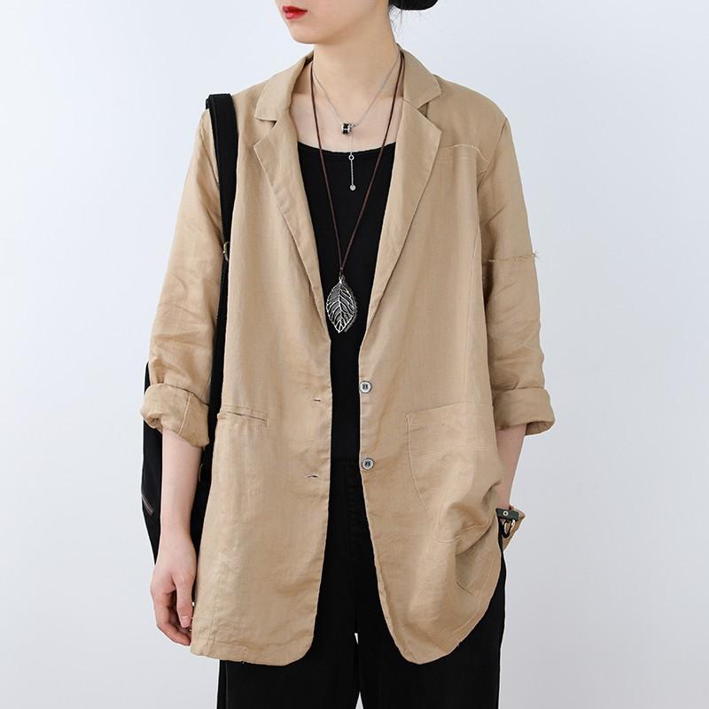 【ADFR11】早春款中長款亞麻氣質小西裝外套寬松大碼韓版休閑西服上衣女薄