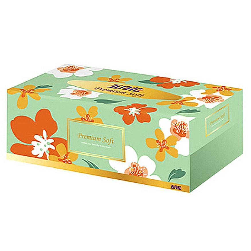 【文具通】五月花 親肌感 盒裝 面紙 衛生紙 180抽 5盒裝 約210x200mm P1040117