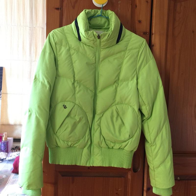 a la sha 螢光綠羽絨保暖外套