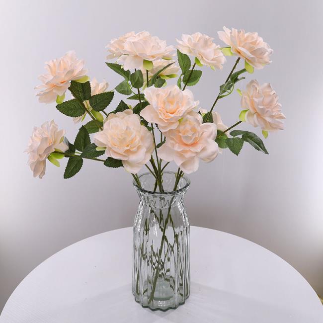 ☆麥田☆高仿真梔子花假花裝飾客廳家居裝飾品擺件玫瑰花絹花束花瓶仿真花假花婚禮裝飾道具花