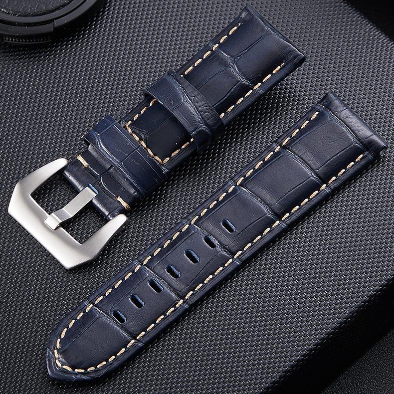 沛納海款竹節紋真皮錶帶 高檔牛皮平頭錶帶 精鋼針扣 男女通用手錶配件 黑色針扣可選 20 22 24 26mm 現貨供應