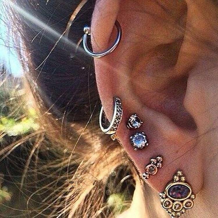 歐美朋克風烏龜手掌月亮古銀耳釘耳夾套裝C0007