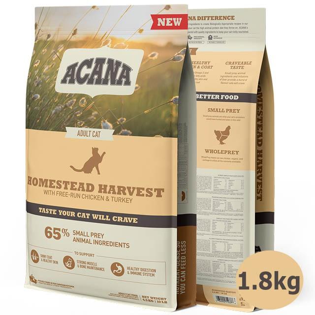 ACANA愛肯拿 田園收穫貓 放養雞肉+火雞肉+藍莓 1.8公斤(kg)【88小舖】低GI配方